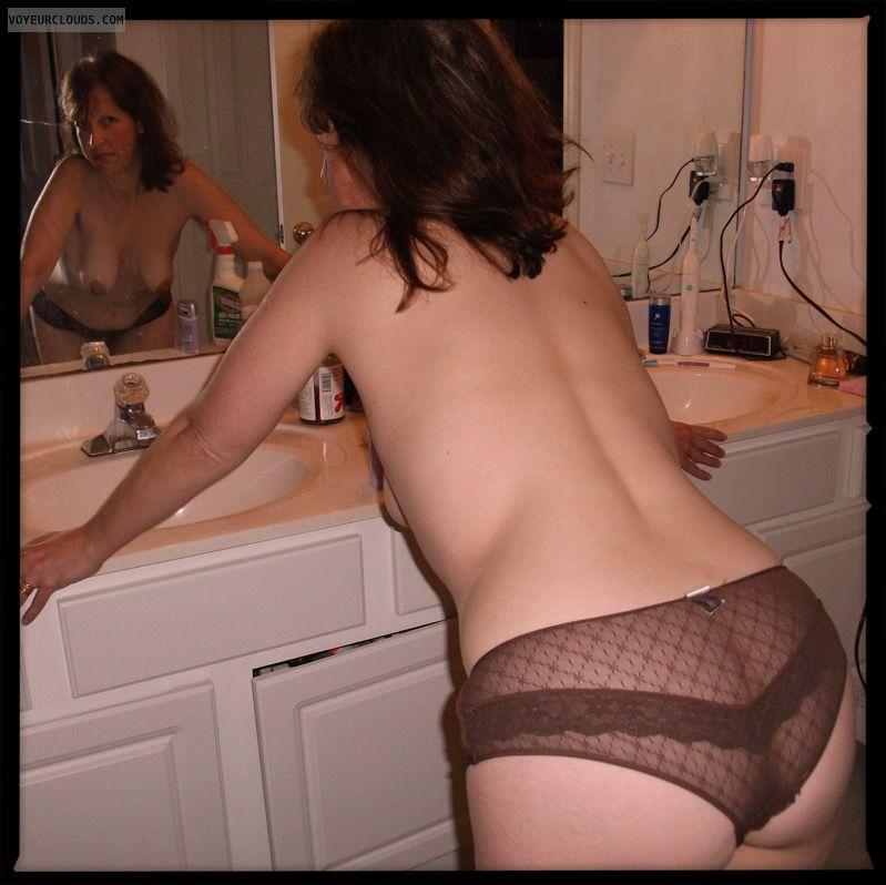 Mirror, Big Cheeks, Large Ass, Sheer, Hanging Tits