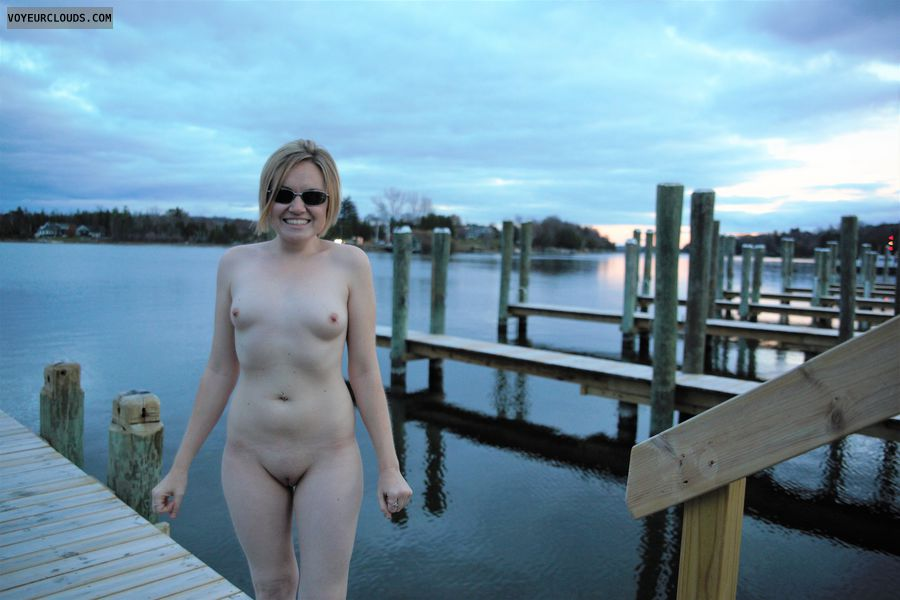 nude wife, public, lake, docks, small tits, shaved pussy