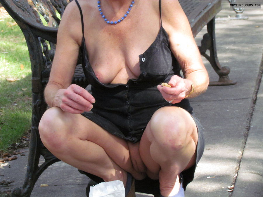public, shaved pussy, deep cleavage, small tits, wife