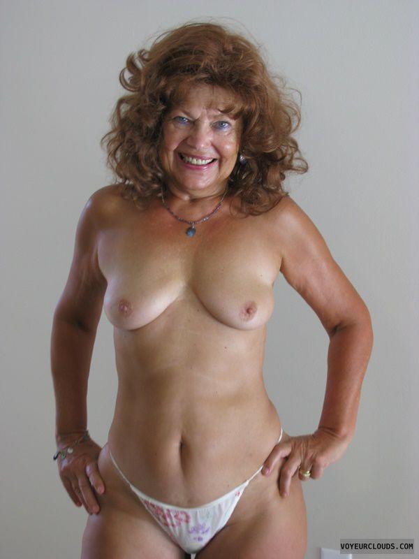 Topless, Panties, Redhead, GILF, MILF, small tits