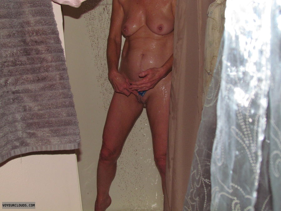 nude wife, shaving pussy, small tits, hard nipples