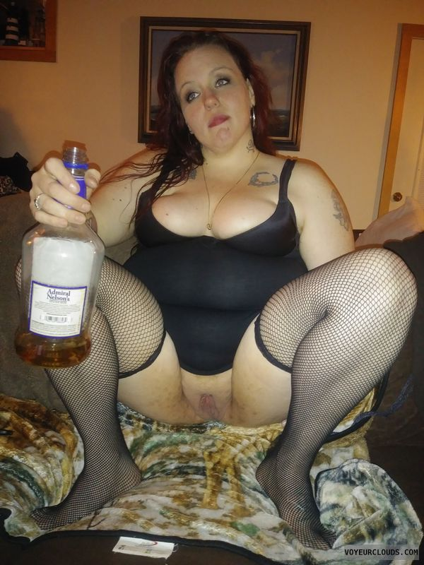 getting faded, big boobs, bottomless, shaved pussy