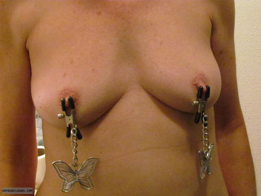 tits, nipple clamps, nude wife, small tits, hard nipples