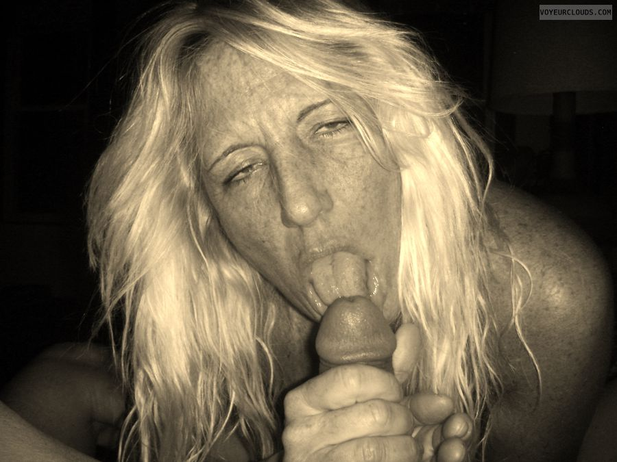 Cock, Mouth, tongue, blonde, freckles