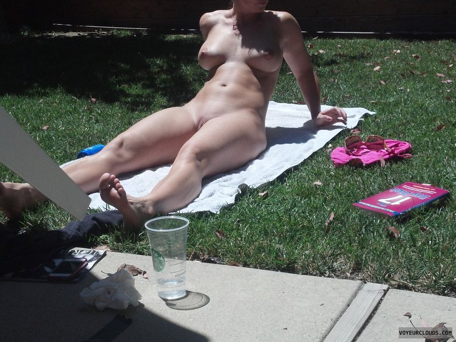 nudist, wife, milf, naked, sunning, tanning
