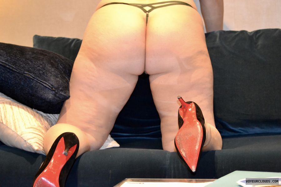 ass, legs, heels, g-string, panties