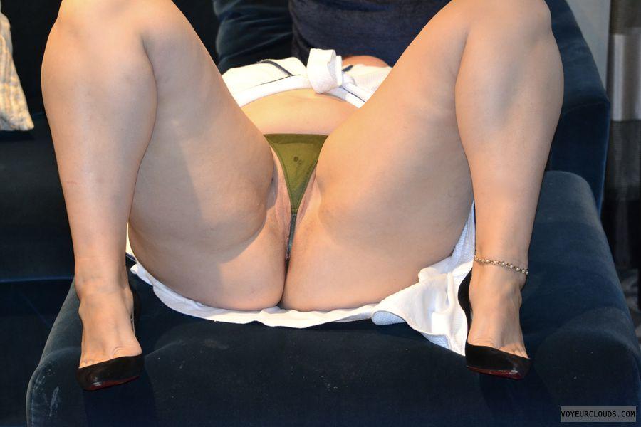 legs, pussy, wet, panties, g-string, heels