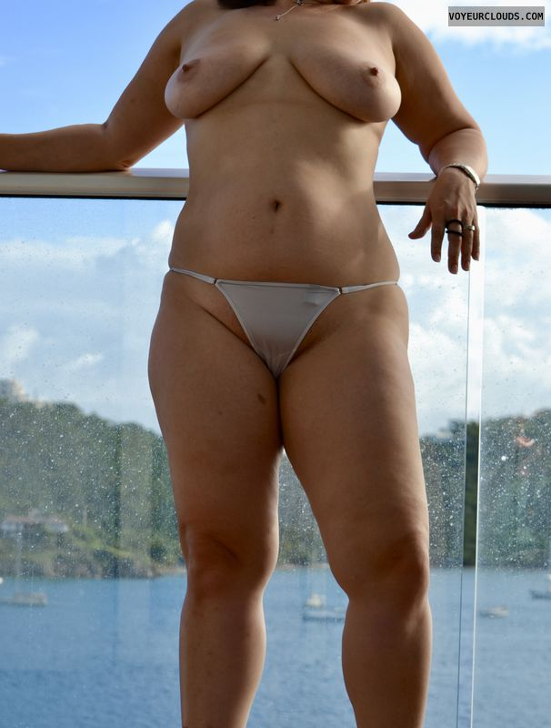 breasts, tits, cruise ship, g-string, white panties