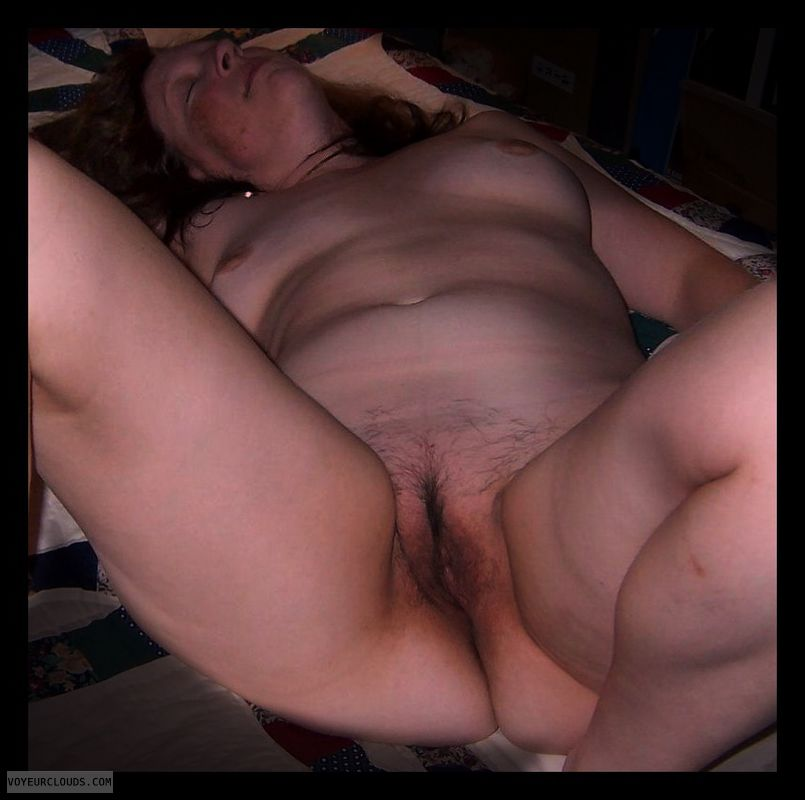 Full frontal, spread eagle, Hairy pussy, OK Pussy