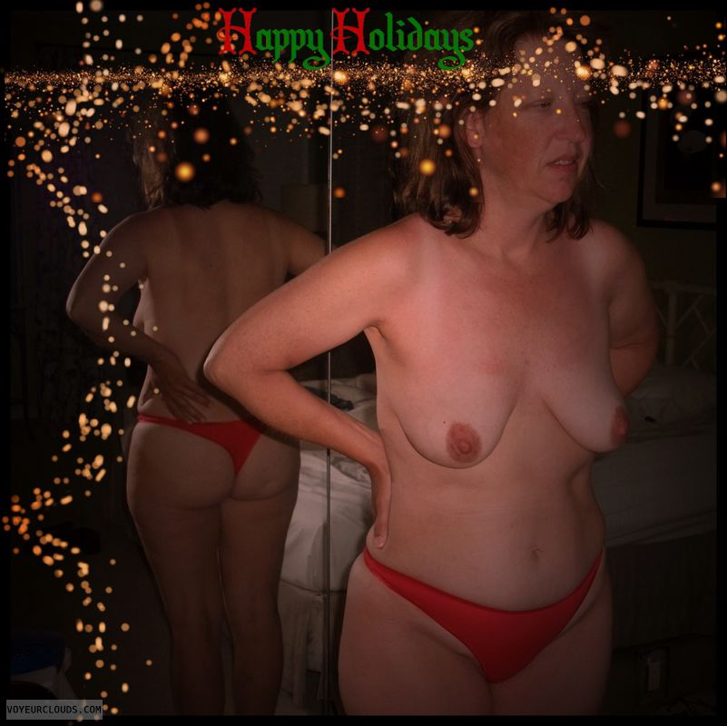 Holiday, Petite boobs, 34B, OK Thong, Brown nips, Immature