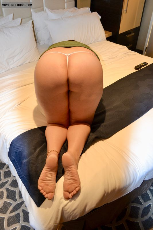 ass, g-string, plug, legs, feet, dress