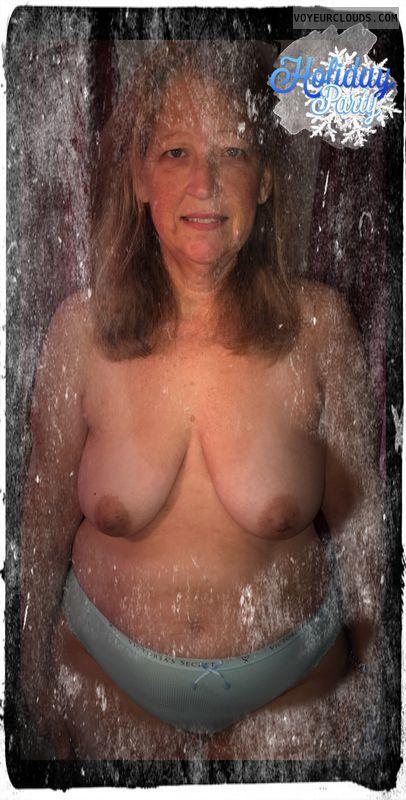 Holiday, Nice smile, Brown nips, Saggy nips, 36D, Immature
