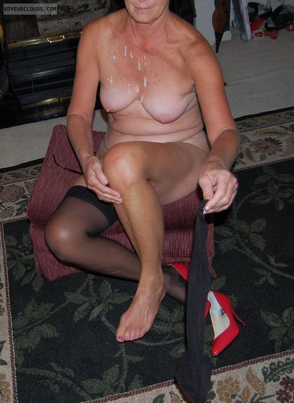Senior, Mature, GILF, tits, nipples, cum, nylons, heels
