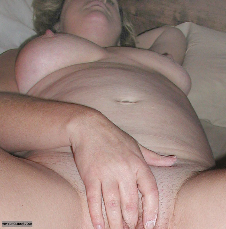 mature nude wife, 38D tits rubbing clit, blonde, MILF