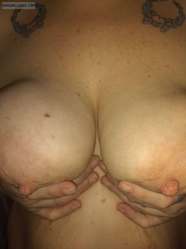 hard nipples, pink areolas, hand bra, topless, big boobs