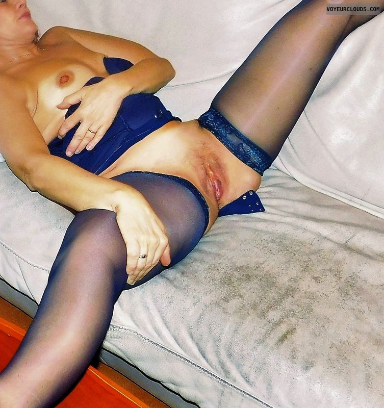 anna, wife, spread, lingerie, stockings, pussy, cunt