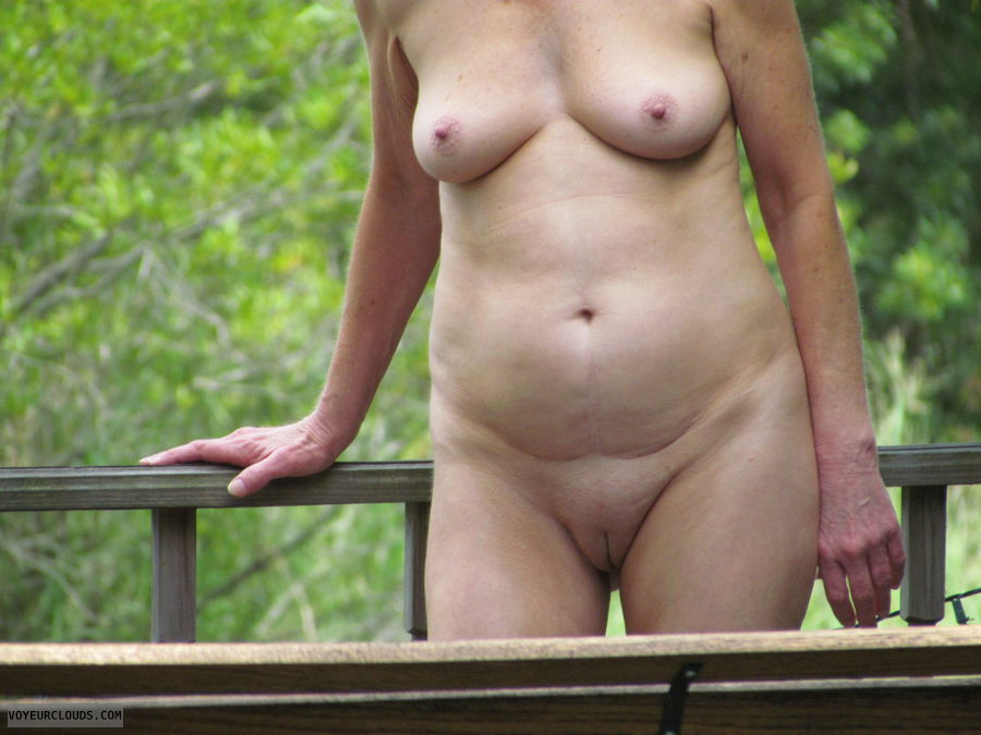 frontal nude, pussy, smooth pussy, nice tits, nude outdoors