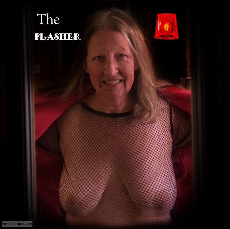 Titflash, Nice smile, Fishnet, Brown nips, Immature