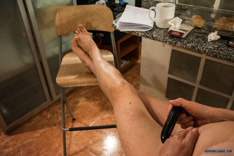 legs, nude wife, toy, dildo, posing