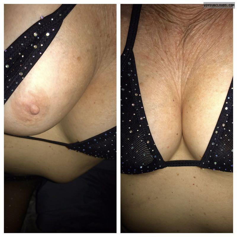 Wife's tits, mature, milf, hard nips, deep cleavage