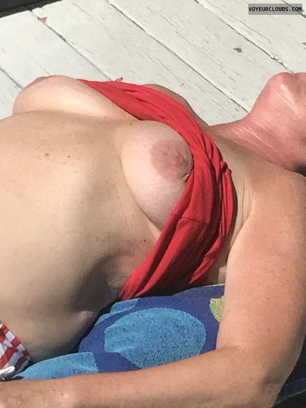 nipples, tits, areola, shirt up, big boobs, outdoor