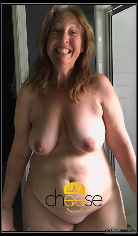 Shower, AARP, Nude wife, Humor, Dark nips, Smirk, Saggy boobs