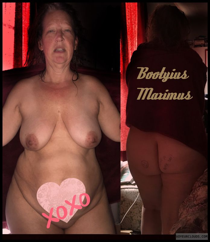 Booty Max, AARP, Nude wife, Smirk, Brown nips, XL Ass