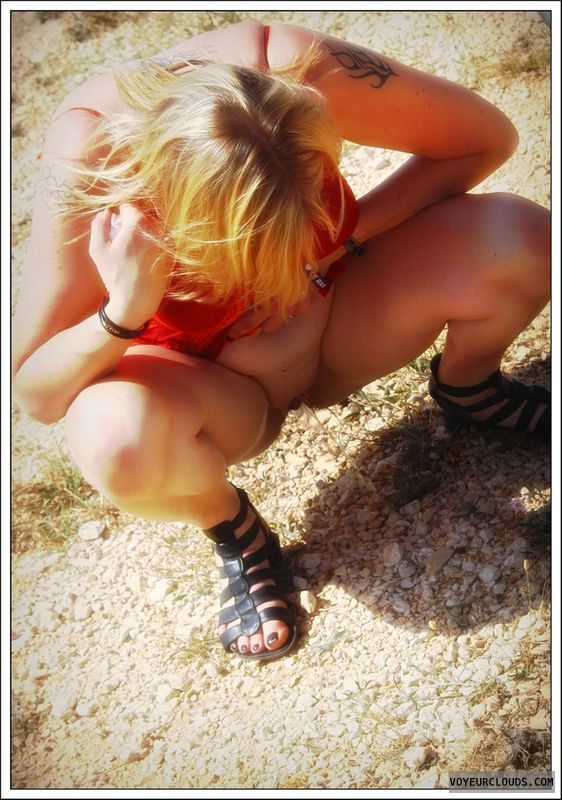 NIP, nude in public, pissing, nude wife, blonde, outdoor