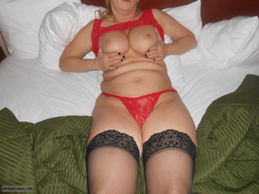 tits out, hard nipples, big boobs, sexy lingerie, red lace