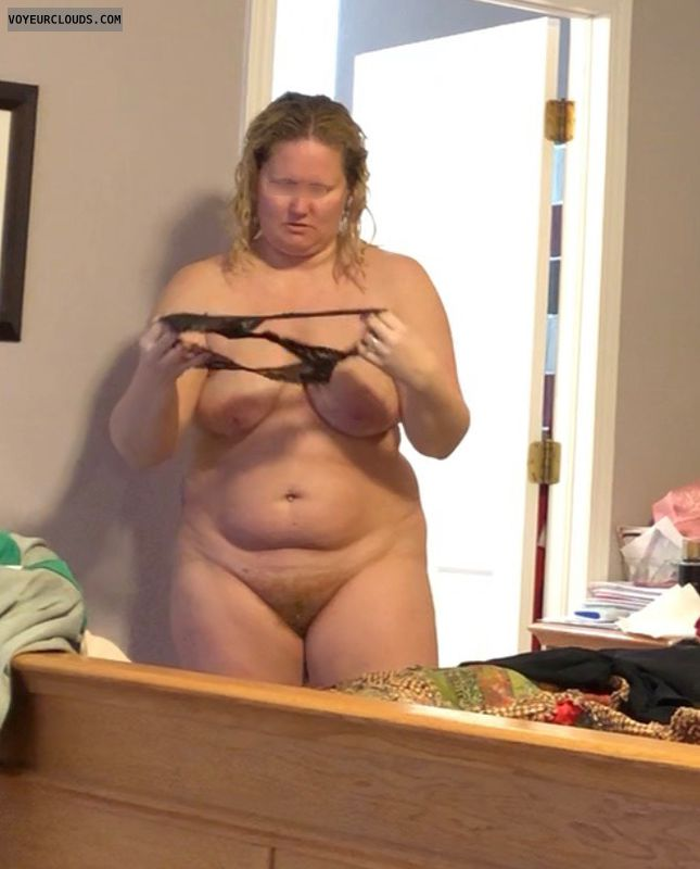 Hairy pussy, saggy tits, hard nipples, nude wife