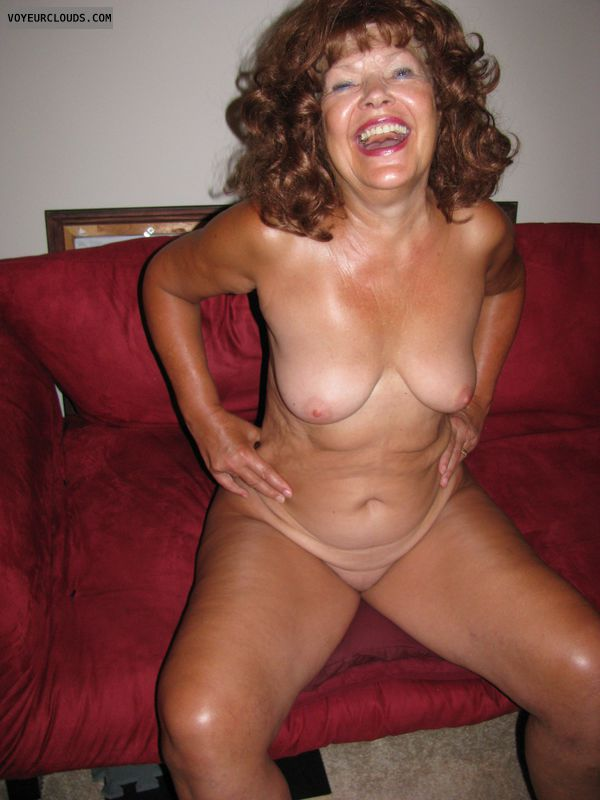 Totally naked, nice tits, Hard Nipples, Happy, MILF