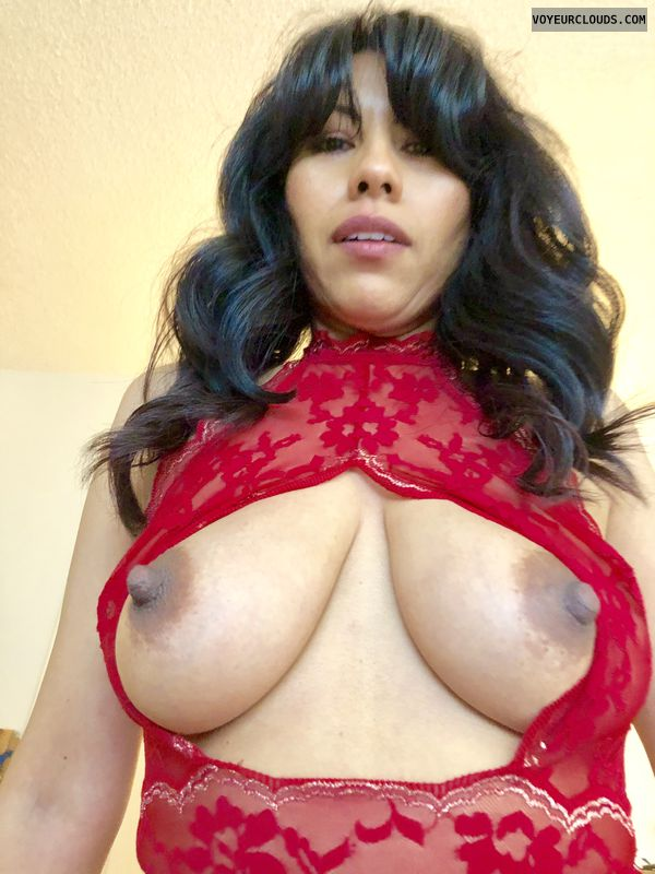tits out, dar areolas, braless, red lace, big boobs