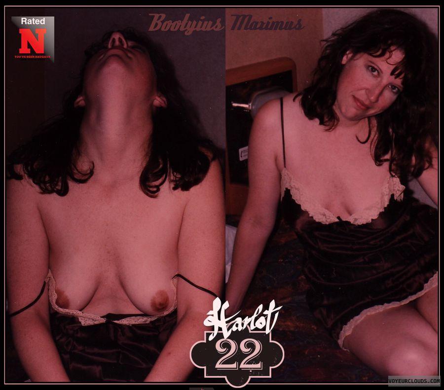 OK Boobs, Smirk, 34B, Brown nips, Harlot, Titflash