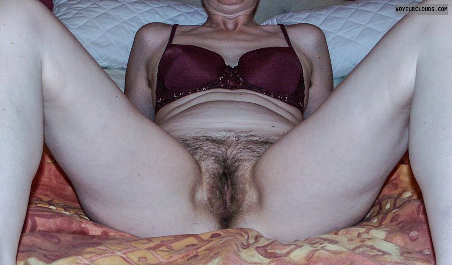 Spread legs, hairy pussy, wofe's Pussy, bed spread