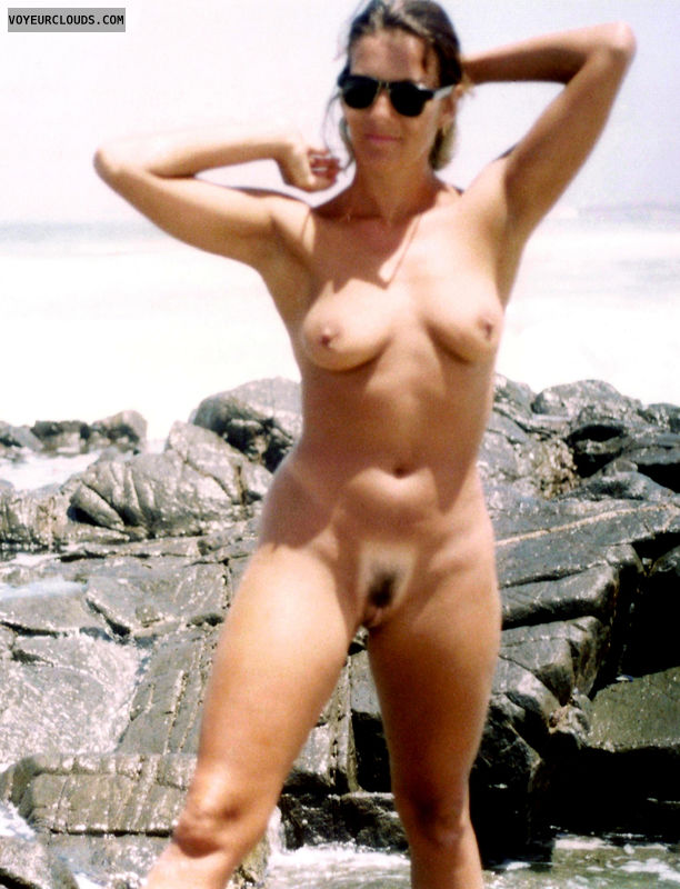 tan lines, naked, beach, tits, pussy