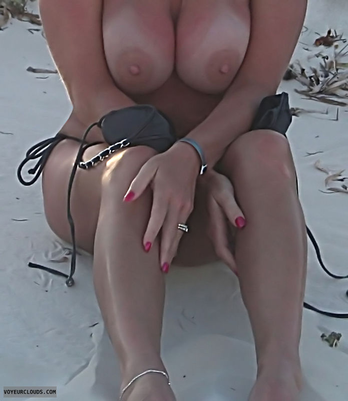 Topless Wife, Tanlines, Tits, Horny Wife, Hard Nipples