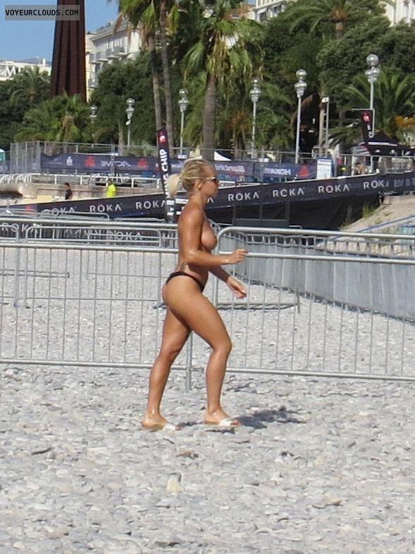 Topless, Beach, Blonde, France, Nice